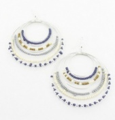Blue & Cream Beaded Large Earrings